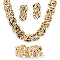 Curb-Link Necklace, Bracelet and Drop Earrings 3-Piece Set in Yellow Gold Tone