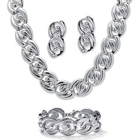 "Silvertone Twisted Curb-Link Necklace, Bracelet and Drop Earrings Set 18"" at PalmBeach Jewelry"