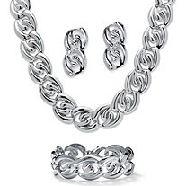 Silvertone Twisted Curb-Link Necklace, Bracelet and Drop Earrings Set 18""
