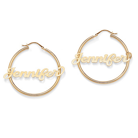 "18k Gold over Sterling Silver Personalized Hoop Earrings (1 3/4"") at PalmBeach Jewelry"
