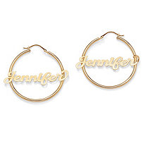 18k Gold over Sterling Silver Personalized Hoop Earrings (1 3/4