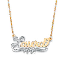 Personalized Double-Heart Two-Tone Nameplate Necklace in 18k Gold over Sterling Silver 18