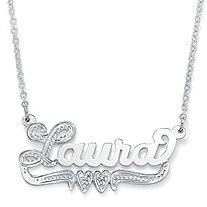 Sterling Silver Double-Heart Nameplate Necklace 18""