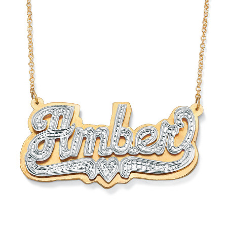 Personalized Heart Nameplate Necklace in 18k Gold over Sterling Silver at PalmBeach Jewelry