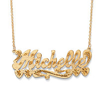 Personalized Multi-Heart Nameplate Necklace 18k Gold over Sterling Silver 18""