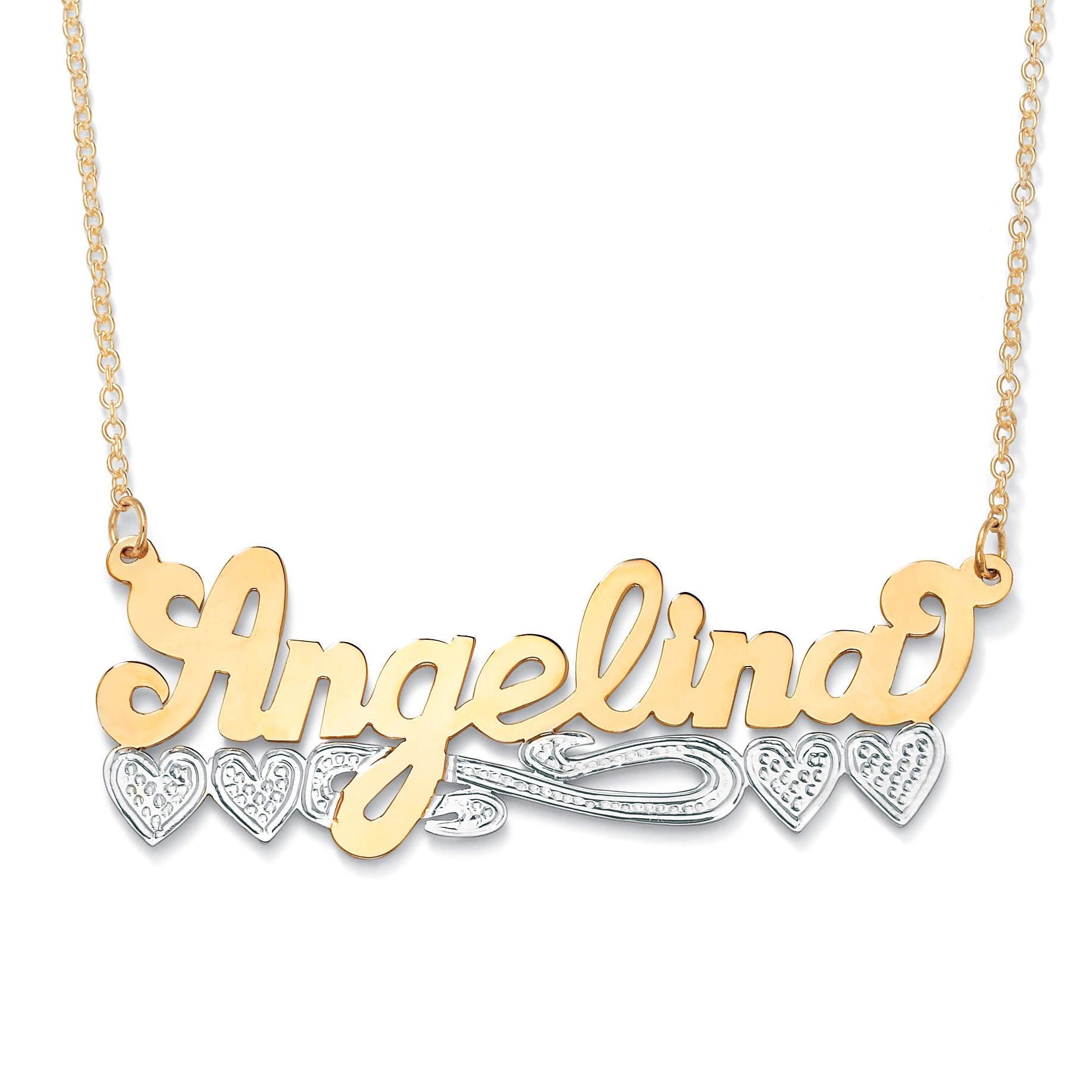 Two Tone Personalized Multi Heart Nameplate Necklace In