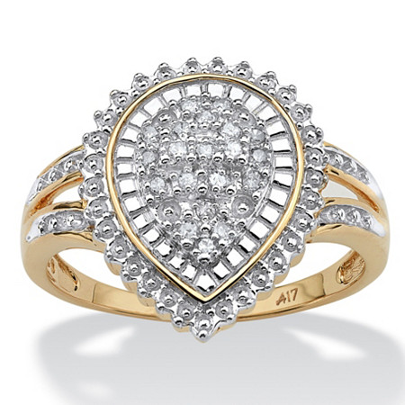 1/10 TCW Round Diamond Pear-Shaped Ballerina Setting Ring in 10k Gold at PalmBeach Jewelry