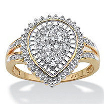 1/10 TCW Round Diamond Pear-Shaped Ballerina Setting Ring in 10k Gold