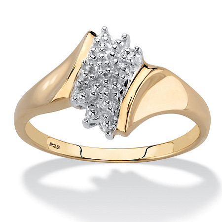 Pave Diamond Accent Cluster Ring in 18k Gold over Sterling Silver at PalmBeach Jewelry