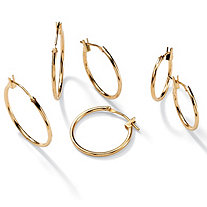 SETA JEWELRY Three-Pair Set of Hoop Earrings in 10k Gold  (5/8