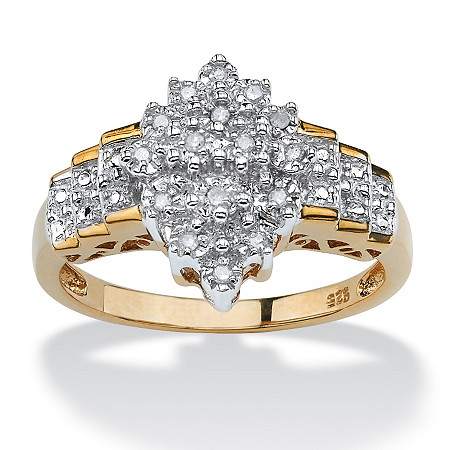 1/10 TCW Round Diamond Marquise-Shaped Step Ring in 18k Gold over .925 Sterling Silver at PalmBeach Jewelry