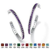 Round Birthstone Silvertone Channel-Set C-Hoop Earrings