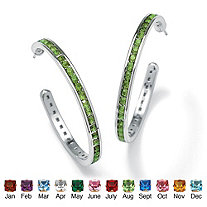 Round Birthstone Silvertone Channel-Set C-Hoop Earrings