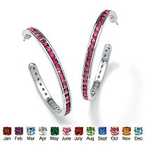 "Round Birthstone Silvertone Channel-Set C-Hoop Earrings (1 1/5"")"