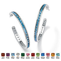 Round Birthstone Silvertone Channel-Set C-Hoop Earrings (1 1/5