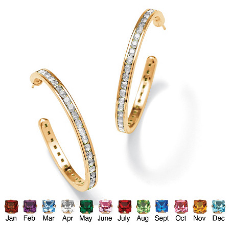 Round Birthstone 14k Yellow Gold-Plated Channel-Set Hoop Earrings (30mm) at PalmBeach Jewelry