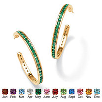 Round Birthstone 14k Yellow Gold-Plated Channel-Set Hoop Earrings (30mm)
