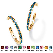 Round Birthstone 14k Yellow Gold-Plated Channel-Set Hoop Earrings (1 1/5