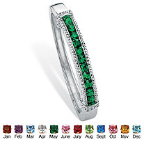 Round Simulated Simulated Birthstone Bangle Bracelet in Silvertone