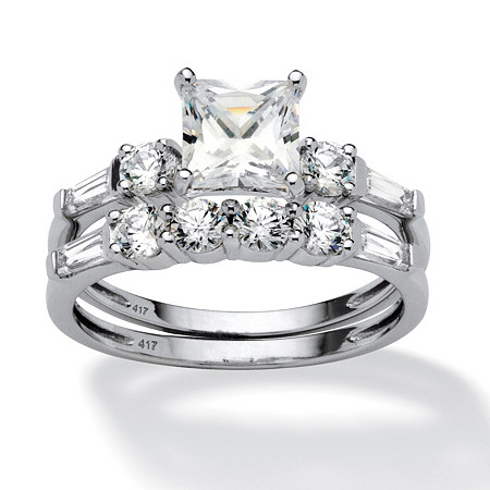 2 Piece 2.52 TCW Princess-Cut Cubic Zirconia Bridal Ring Set in 10k White Gold at PalmBeach Jewelry