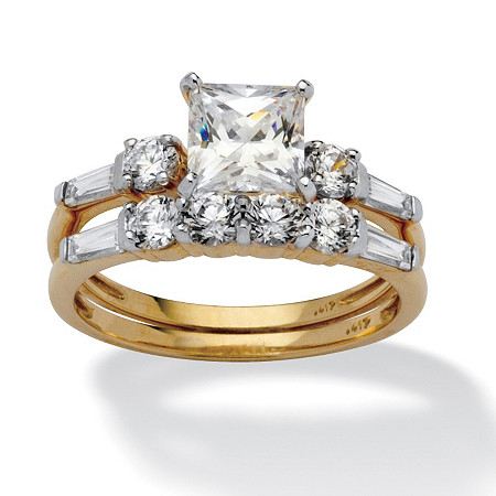 2 Piece 2.52 TCW Princess-Cut Cubic Zirconia Bridal Ring Set in 10k Gold at PalmBeach Jewelry