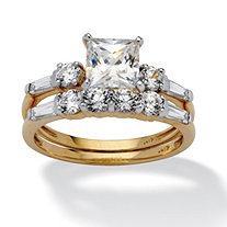SETA JEWELRY 2 Piece 2.52 TCW Princess-Cut Cubic Zirconia Bridal Ring Set in 10k Gold
