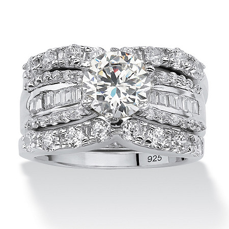 5.62 TCW Round Cubic Zirconia Three-Piece Bridal Set in Platinum over Sterling Silver at PalmBeach Jewelry