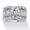 Related Item 5.62 TCW Round Cubic Zirconia Three-Piece Bridal Set in Platinum over Sterling Silver
