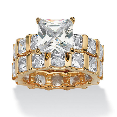 12.67 TCW Princess-Cut Cubic Zirconia 18k Gold over Sterling Silver Eternity Wedding Band Set at PalmBeach Jewelry
