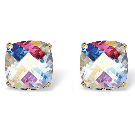 7.60 TCW Cushion-Cut Aurora Borealis Cubic Zirconia Stud Earrings in Silvertone at PalmBeach Jewelry