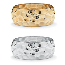 SETA JEWELRY Yellow Gold Tone and Silvertone Wide Hammered-Style Bangle Bracelet 2-Piece Set 9
