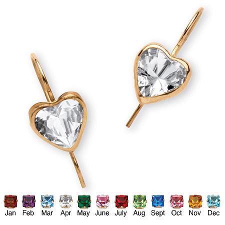 Heart-Shaped Birthstone 10k Yellow Gold Drop Earrings at PalmBeach Jewelry