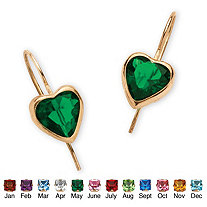 Heart-Shaped Birthstone 10k Yellow Gold Drop Earrings