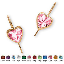 Heart-Shaped Birthstone 10k Yellow Gold Drop Earrings