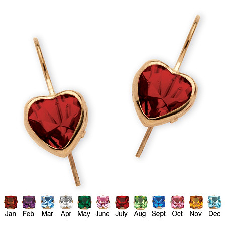 Heart-Shaped Birthstone 10k Yellow Gold Drop Earrings at PalmBeach Jewelry