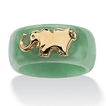 SETA JEWELRY Round Genuine Green Jade 10k Yellow Gold Elephant Ring Band