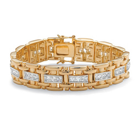 Men's 10.35 TCW Square Cubic Zirconia 14k Gold-Plated Bar-Link Bracelet 8.25