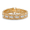 Related Item Men's 10.35 TCW Square Cubic Zirconia 14k Gold-Plated Bar-Link Bracelet 8.25