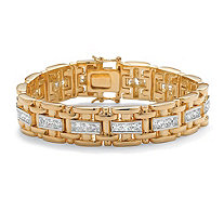 Men S 10 35 Tcw Square Cubic Zirconia 14k Gold Plated Bar Link Bracelet 8 25