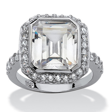 4.48 TCW Cushion Princess-Cut Bezel-Set Cubic Zirconia Platinum over Sterling Silver Ring at PalmBeach Jewelry