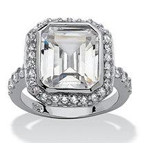 4.48 TCW Cushion Princess-Cut Bezel-Set Cubic Zirconia Platinum over Sterling Silver Ring