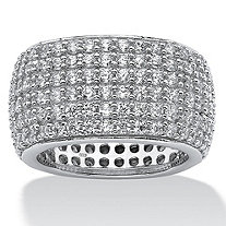 SETA JEWELRY 3.00 TCW Pave Cubic Zirconia Multi-Row Eternity Band in Sterling Silver