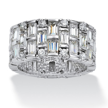 5.12 TCW Baguette Cubic Zirconia Eternity Band in Platinum over Sterling Silver at PalmBeach Jewelry