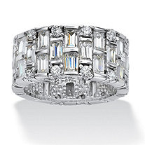 SETA JEWELRY 5.12 TCW Baguette Cubic Zirconia Eternity Band in Platinum over Sterling Silver
