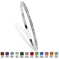 Birthstone Eternity Bangle Stackable Bracelet in Silvertone 7.5""