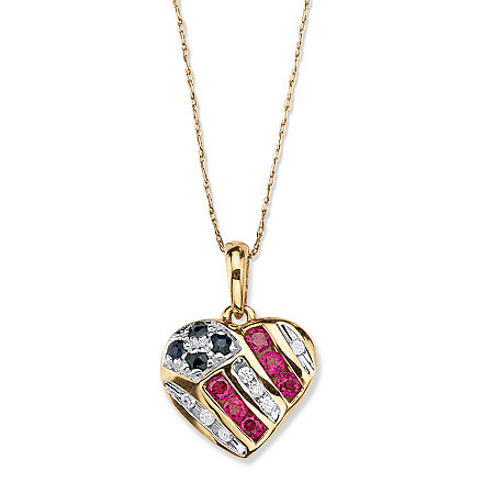 "Round Genuine Blue Sapphire and Created Ruby Patriotic American Flag Pendant Necklace .55 TCW in 10k Yellow Gold 18"" at PalmBeach Jewelry"
