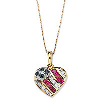 SETA JEWELRY .55 TCW Round Genuine Sapphire and Created Ruby 10k Yellow Gold Patriotic Pendant and Chain 18