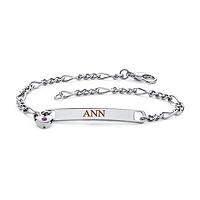 """Personalized I.D. Birthstone Heart Charm Bracelet In Silvertone 7.25"""""""