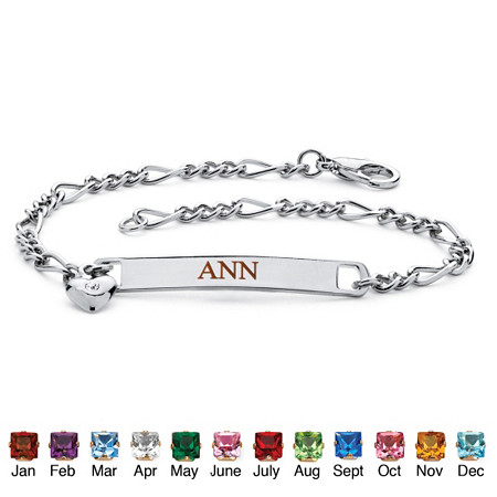 Personalized I.D. Birthstone Heart Charm Bracelet in Silvertone at PalmBeach Jewelry