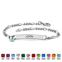 Personalized I.D. Simulated Birthstone Heart Charm Bracelet in Silvertone 7.25""